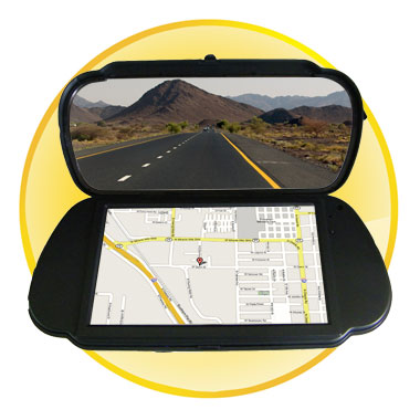 7 inch Dual Function Car Rearview Monitor + GPS Navigation