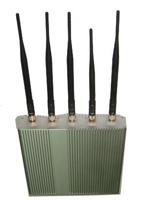 5 Antenna Cell Phone jammer+ Remote Control (3G, GSM, CDMA, DCS)