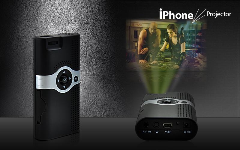 Pocket sized mini projector for iphone 4 3gs av in for Best mini projector for iphone 6