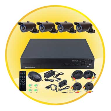 "4 Channel Home and Office CCTV DVR System(4pcs 1/4"" Color CMOS IR Camera)"