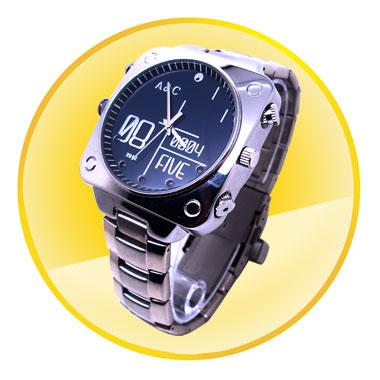Silver 1080P Waterproof Watch Camera (8GB,Night Vision)