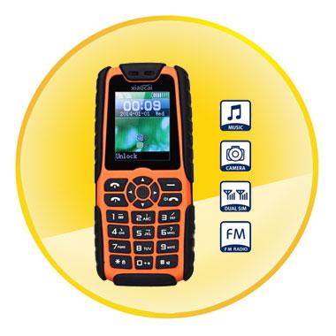 Xiaocai X6 Dustproof Shockproof GSM Bar Phone (Quad Band, Power Bank, Flishlight)