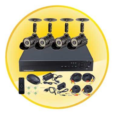 4CH H.264 DVR Kit with 4 IR Night Vision Waterproof 1/4''CMOS Cameras