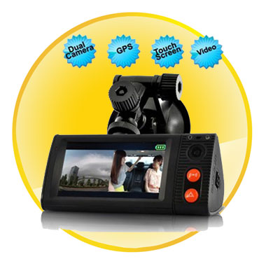 3 Inch Touchscreen Dual Camera Car Blackbox DVR With GPS Logger