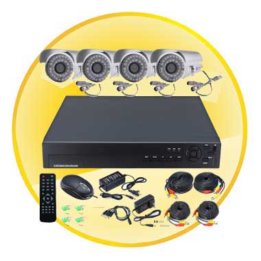 4 Channel CCTV DVR System with PTZ Control(4 Outdoor Waterproof 420TVL 36LED Camera)