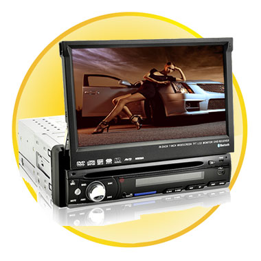 1-DIN 7 Inch High Definition Touchscreen Car DVD Player System with GPS