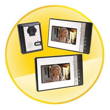 7 Inch LCD Screen Video Door Phone Doorbell Intercom Kit 1-camera 2-monitor Night Vision