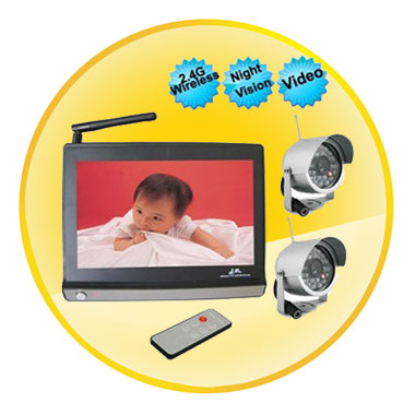 Wireless 7 Inch LCD Baby Monitor With Waterproof Automatic Night Vision Camera