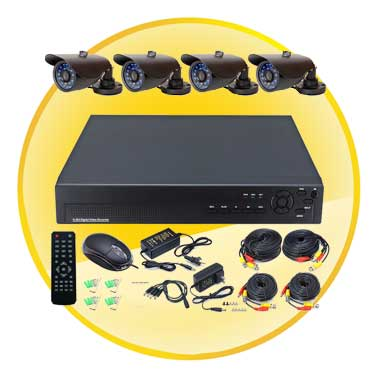 4 Channel CCTV System with 4 Waterproof Cameras for Home & Office