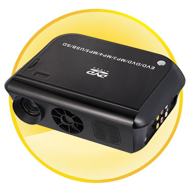 720P Portable DVD Projector with DVD, TV, GAME, USB, SD, MMC, VGA and AV IN&OUT