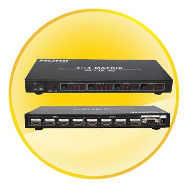 4x4 HDMI Matrix 1.4 Switch/Splitter HD 4K/2K 1080p & 3D Resolutions with Remote