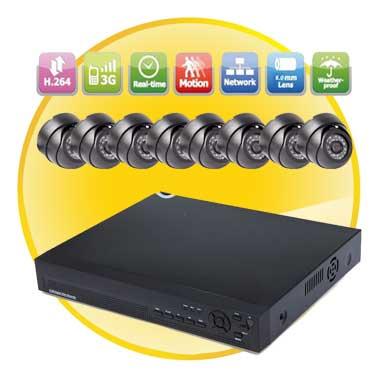 8CH Home Security System DVR Kit (8pcs 420TVL IR Dome Camera)