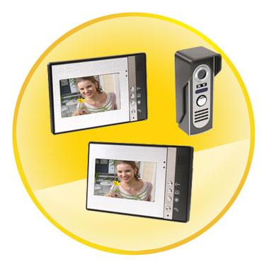 7 Inch 2 in 1 Video Door Phone Doorbell Intercom Kit 1-camera 2-monitor with Night Vision