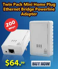 Twin Pack Mini HomePlug Ethernet Bridge Powerline Adapter(200Mbps)