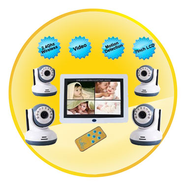 7 Inch LCD 2.4Ghz Wireless Motion Detection Baby Monitor with 4 Cameras