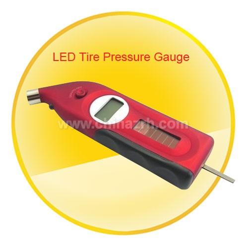 Solar Powered Digital Tire Pressure Gauge with Depth Measurer and Flashlight