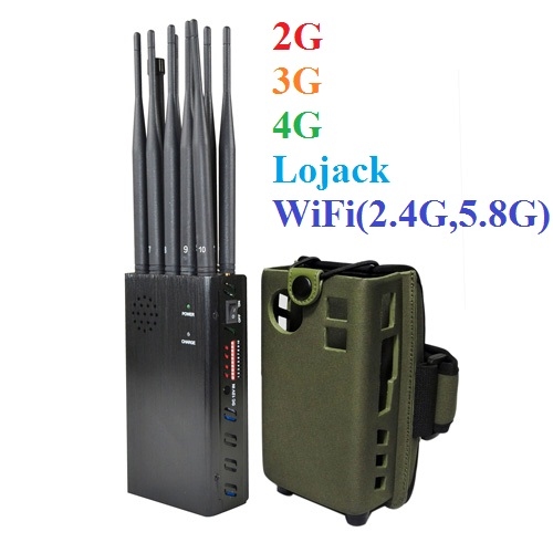 10 Antennas Plus Portable Jammer Mobile Phone 2G/3G/4G + LOJACK + GPSL1 + WiFi(2.4G, 5.8G) Signal Blocker