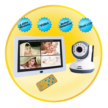 7 Inch LCD 2.4Ghz Wireless Baby Monitor with Motion Detection