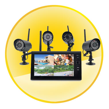 Wireless Home Security Camera System 4x Indoor Wireless Cameras & 7 Inch Wireless Monitor