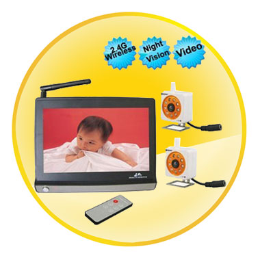 7 Inch LCD Wireless Baby Monitor With Automatic Night Vision Camera