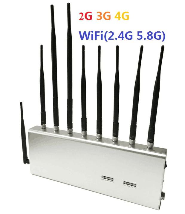 2G/3G/4G + WIFI(2.4G, 5.8G) Mobile Phone Jammer Desktop
