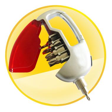 4 Screw Pocket Screwdriver Tool Set with LED