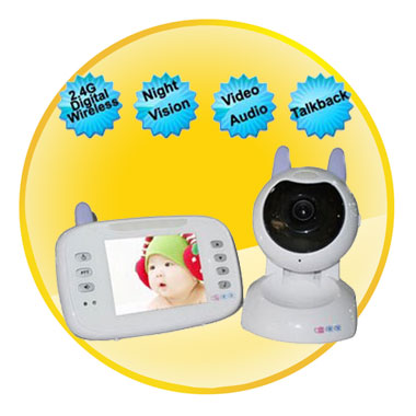 3.5 Inch LCD Digital Baby Monitor Baby Viewer Night Vision Sound Activation