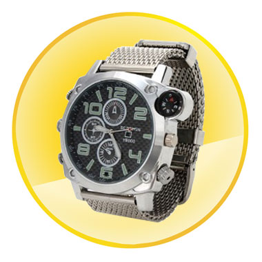 HD 1080P Watch Camera with Calendar and Compass