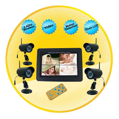 2.4Ghz 7 Inch LCD Wireless Motion Detection Baby Monitor with 4 Cameras