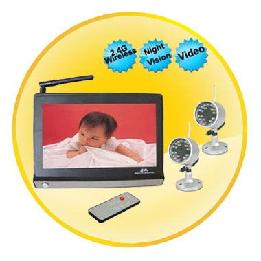 Wireless Widescreen 7 Inch LCD Baby Monitor With Automatic Night Vision Camera