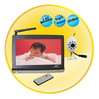 7 Inch LCD Wireless Widescreen Baby Monitor With Night Vision Camera